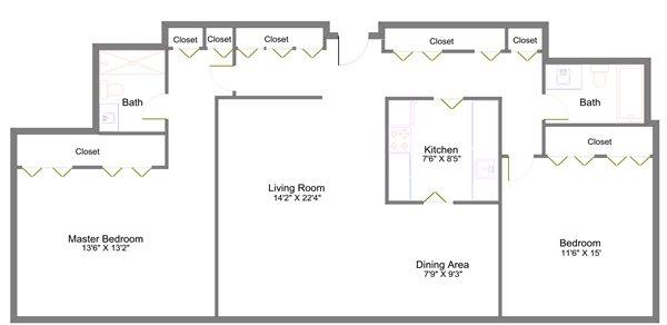 2 Bedrooms 2 Bathrooms Apartment for rent at Lansing Tower in Lansing, MI