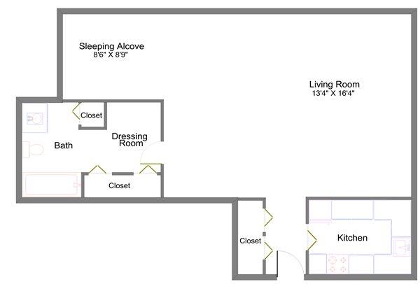 Studio 1 Bathroom Apartment for rent at Lansing Tower in Lansing, MI