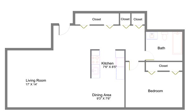 1 Bedroom 1 Bathroom Apartment for rent at Lansing Tower in Lansing, MI