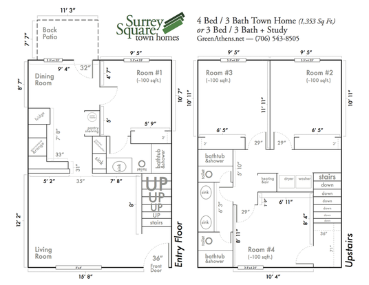 4 Bedrooms 3 Bathrooms Apartment for rent at Surrey Square Townhomes in Athens, GA