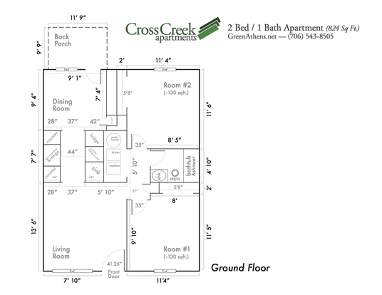 2 Bedrooms 1 Bathroom Apartment for rent at Cross Creek Apartments in Athens, GA