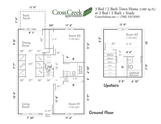 3 Bedrooms 2 Bathrooms Apartment for rent at Cross Creek Apartments in Athens, GA