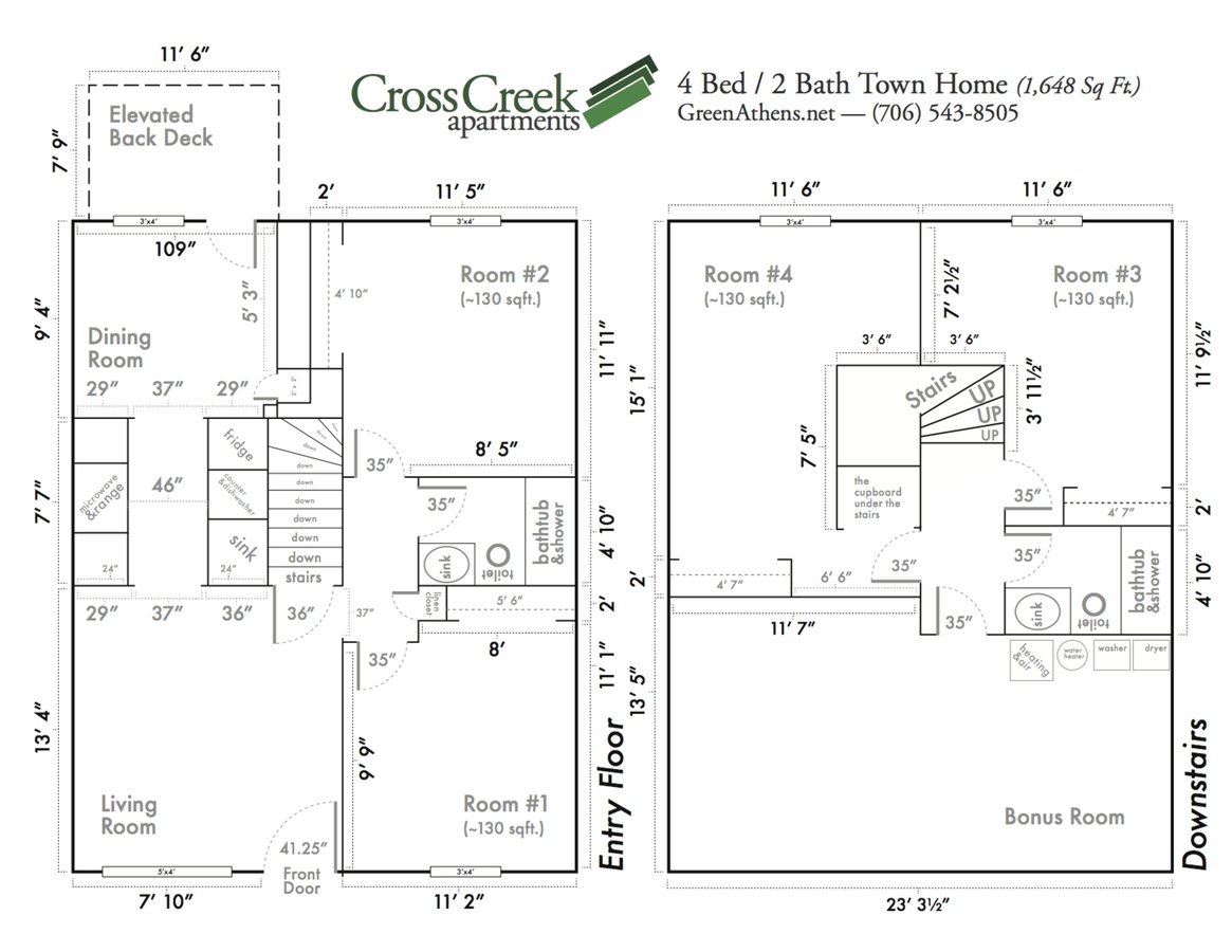 4 Bedrooms 2 Bathrooms Apartment for rent at Cross Creek Apartments in Athens, GA