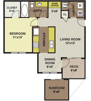 1 Bedroom 1 Bathroom Apartment for rent at Polo Village in Columbia, SC