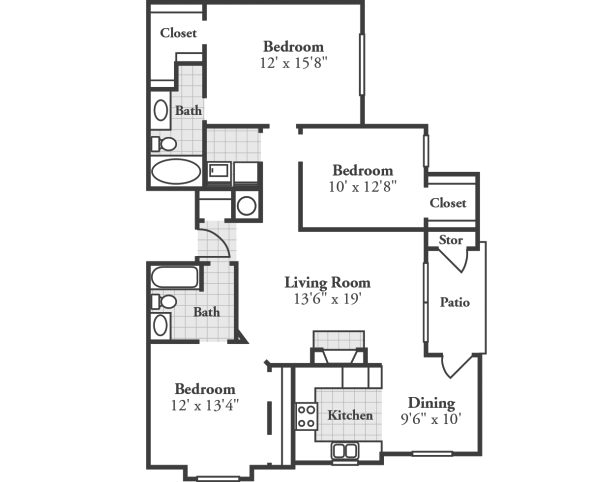 3 Bedrooms 2 Bathrooms Apartment for rent at Crowne At The Summit in Louisville, KY
