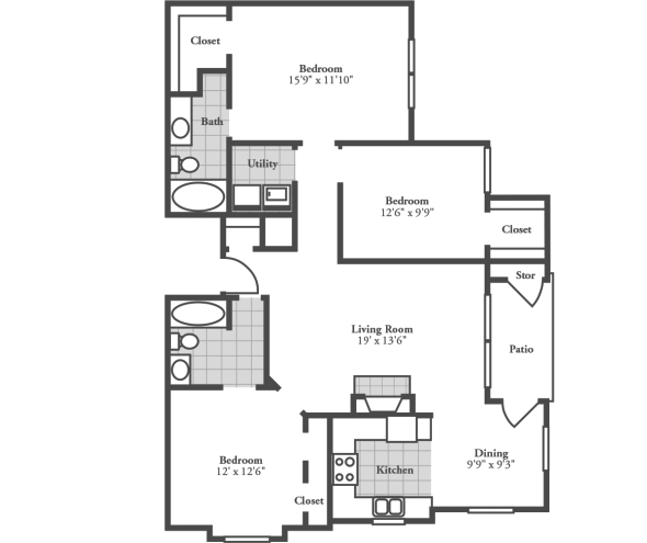 3 Bedrooms 2 Bathrooms Apartment for rent at Crowne At Campus Pointe in Knoxville, TN