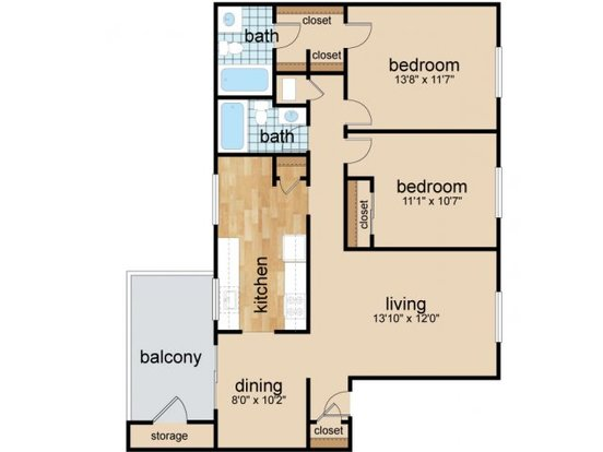 2 Bedrooms 2 Bathrooms Apartment for rent at Granby Oaks in Columbia, SC