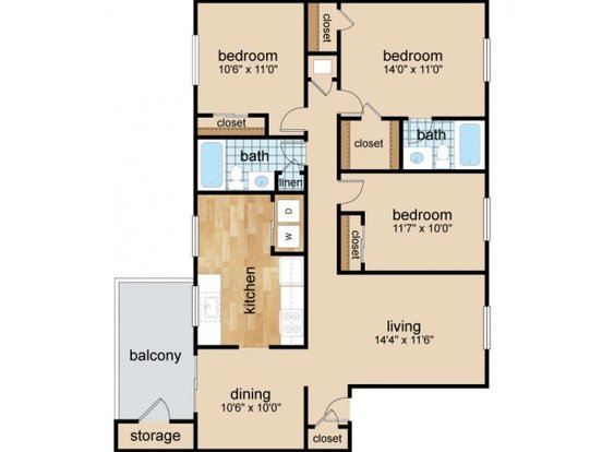 3 Bedrooms 2 Bathrooms Apartment for rent at Granby Oaks in Columbia, SC