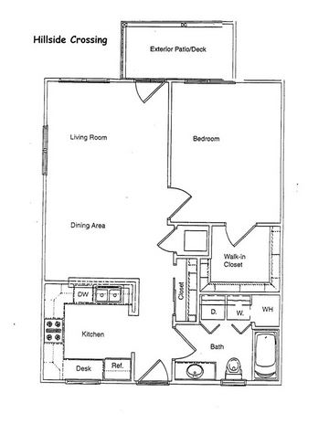 1 Bedroom 1 Bathroom Apartment for rent at Hillside Crossing in Bloomington, IN
