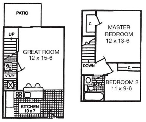 2 Bedrooms 1 Bathroom Apartment for rent at Crown Woodhills Apartments in West Carrollton City, OH