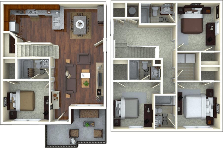 4 Bedrooms 3 Bathrooms Apartment for rent at The Retreat At College Station in College Station, TX