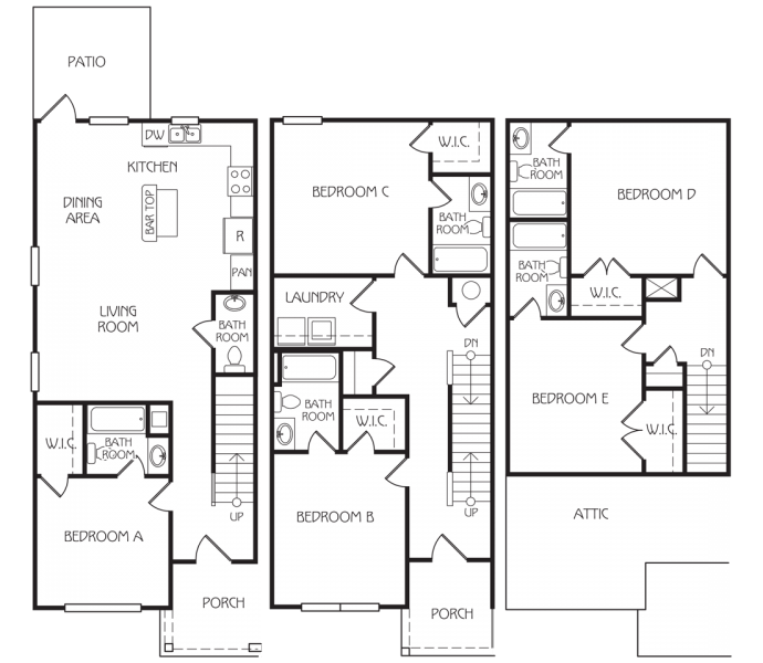 5 Bedrooms 3 Bathrooms Apartment for rent at The Retreat At College Station in College Station, TX