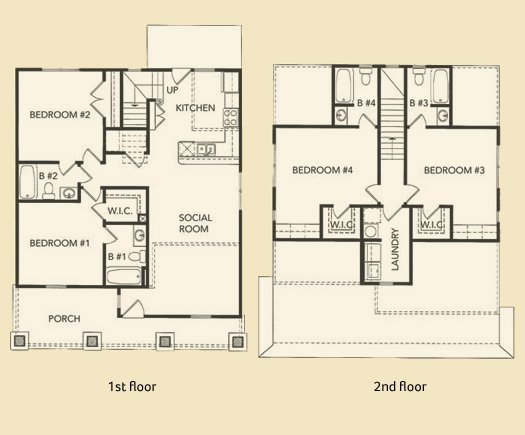 4 Bedrooms 3 Bathrooms Apartment for rent at Reese & Harris Street Houses in Athens, GA