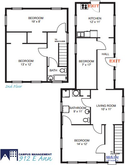 4 Bedrooms 2 Bathrooms House for rent at 912 E Ann St in Ann Arbor, MI