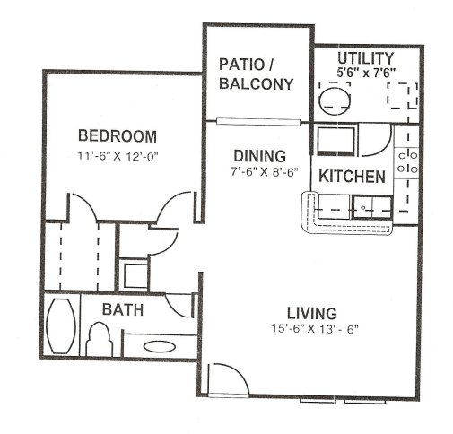 1 Bedroom 1 Bathroom Apartment for rent at The Paces At Woodlake in Athens, GA