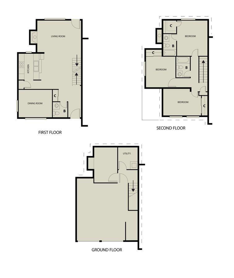 3 Bedrooms 2 Bathrooms Apartment for rent at The Landing Apartments in Dayton, OH