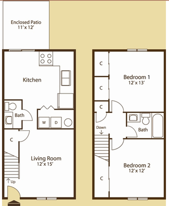 2 Bedrooms 2 Bathrooms Apartment for rent at Pine Run Townhomes in Dayton, OH