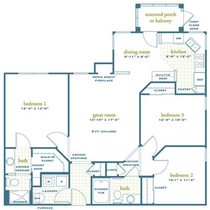 3 Bedrooms 2 Bathrooms Apartment for rent at Austin Springs in Miamisburg, OH