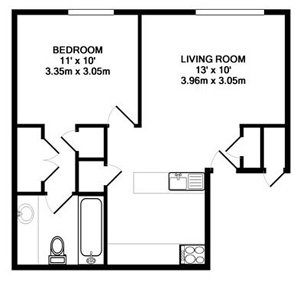 1 Bedroom 1 Bathroom Apartment for rent at Chesapeake Landing in Dayton, OH