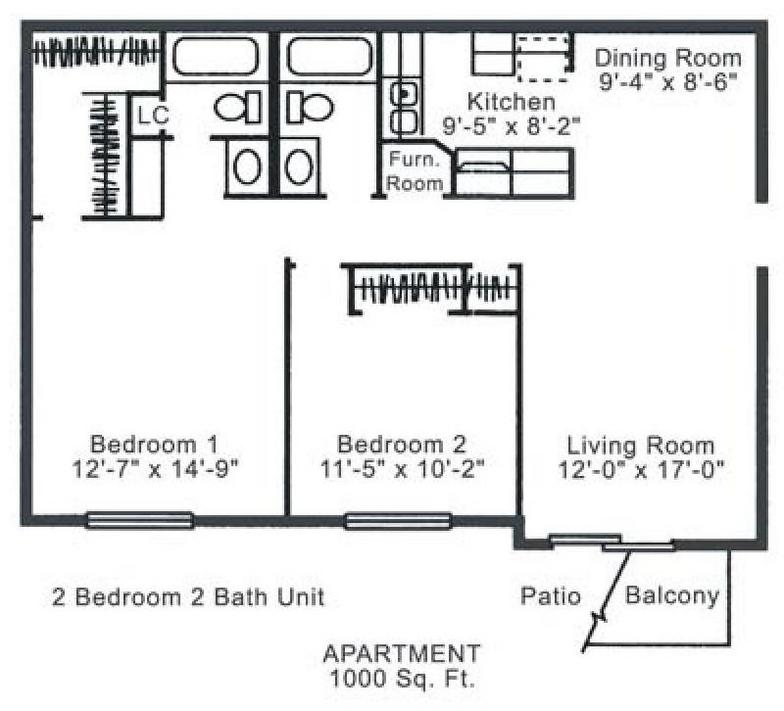 2 Bedrooms 2 Bathrooms Apartment for rent at Ashland Manor Apartments in Columbia, MO