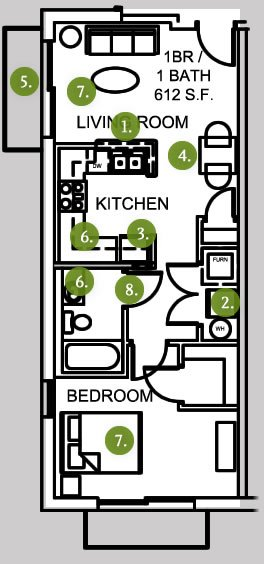 1 Bedroom 1 Bathroom Apartment for rent at Lofts At 308 Ninth in Columbia, MO