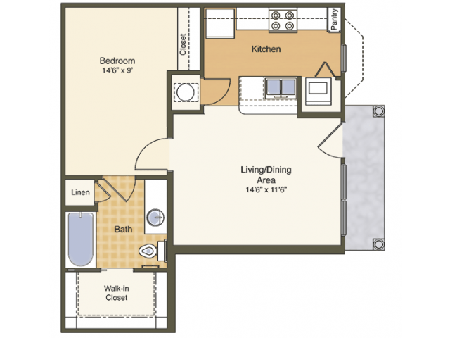 1 Bedroom 1 Bathroom Apartment for rent at Mcknight Crossing in St Louis, MO