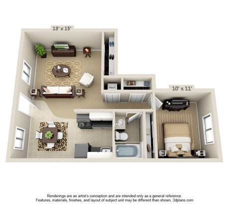 1 Bedroom 1 Bathroom Apartment for rent at Heather Ridge in Columbia, MO