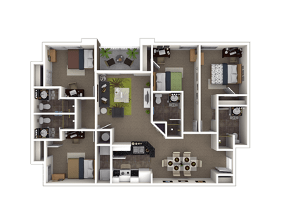 4 Bedrooms 3 Bathrooms Apartment for rent at The Reserve At Athens in Athens, GA