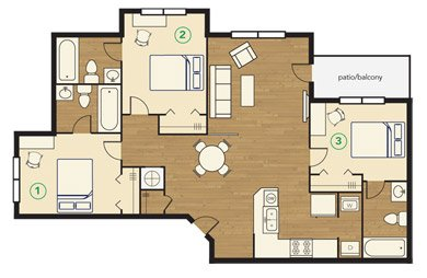 3 Bedrooms 3 Bathrooms Apartment for rent at Townhomes At River Club in Athens, GA