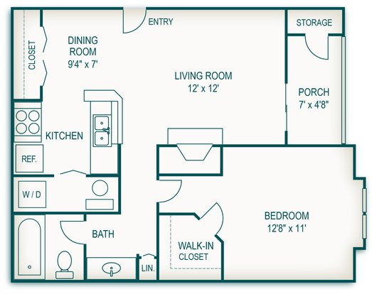 1 Bedroom 1 Bathroom Apartment for rent at Country Club Apartments in Toledo, OH