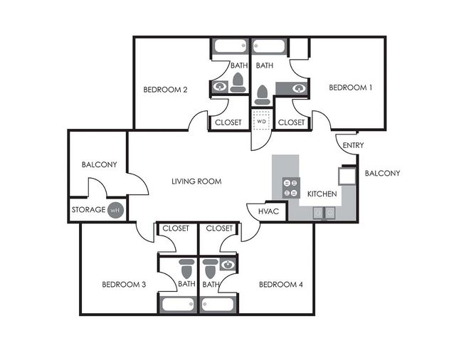 4 Bedrooms 4+ Bathrooms Apartment for rent at University Meadows in Raleigh, NC