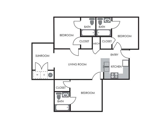 3 Bedrooms 3 Bathrooms Apartment for rent at University Woods in Raleigh, NC