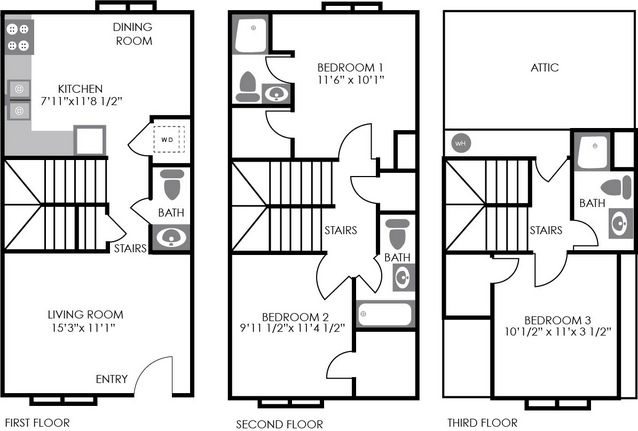 4 Bedrooms 3 Bathrooms Apartment for rent at Red Wolf Crossing in Raleigh, NC
