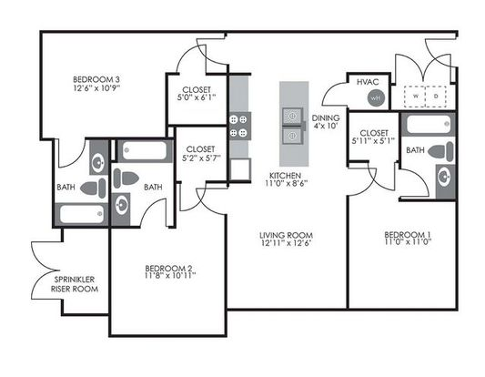 3 Bedrooms 3 Bathrooms Apartment for rent at Campus West At Tryon in Raleigh, NC