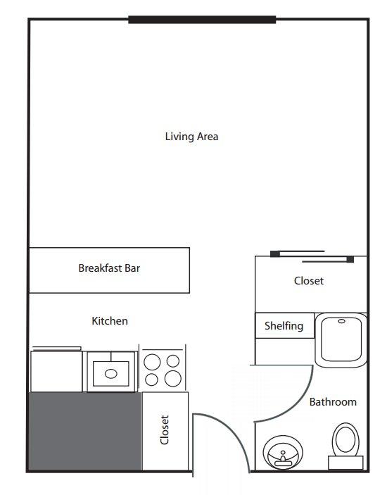 Studio 1 Bathroom Apartment for rent at The Commodore in Cincinnati, OH