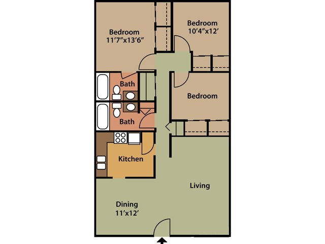 3 Bedrooms 2 Bathrooms Apartment for rent at The Enclave At Breckenridge in Louisville, KY