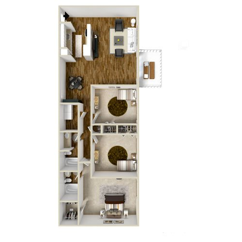 3 Bedrooms 2 Bathrooms Apartment for rent at Copper Pointe Apartment Homes in Knoxville, TN