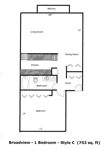 1 Bedroom 1 Bathroom Apartment for rent at Broadview Apartments in Ann Arbor, MI