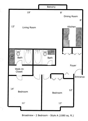2 Bedrooms 2 Bathrooms Apartment for rent at Broadview Apartments in Ann Arbor, MI
