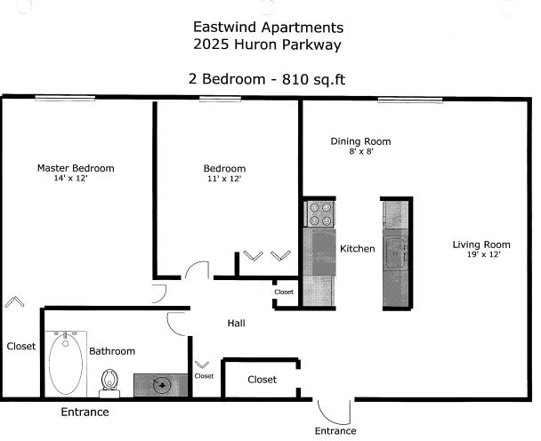 1 Bedroom 1 Bathroom Apartment for rent at Eastwind Apartments in Ann Arbor, MI