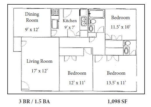 3 Bedrooms 1 Bathroom Apartment for rent at The Flats @235 in Athens, GA