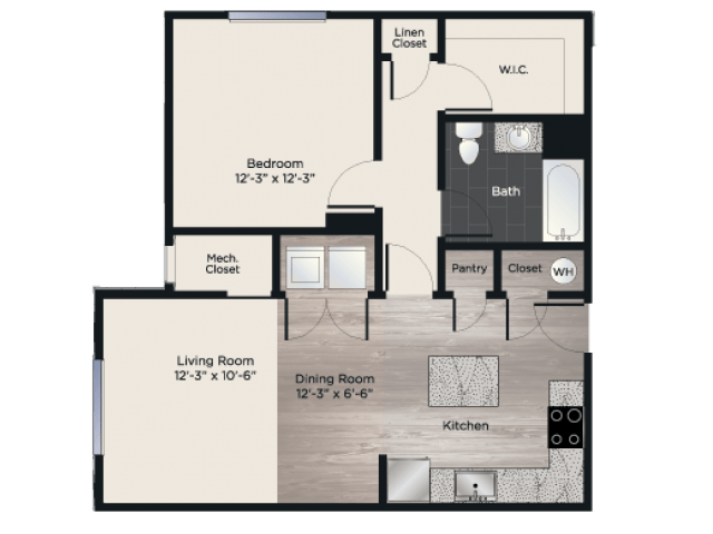 1 Bedroom 1 Bathroom Apartment for rent at Union Flats in Mechanicsburg, PA
