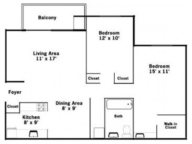2 Bedrooms 1 Bathroom Apartment for rent at Allyson Gardens Ii in Owings Mills, MD