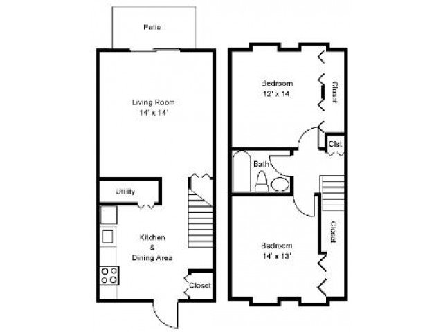 2 Bedrooms 1 Bathroom Apartment for rent at Bright Meadows Townhomes in Owings Mills, MD