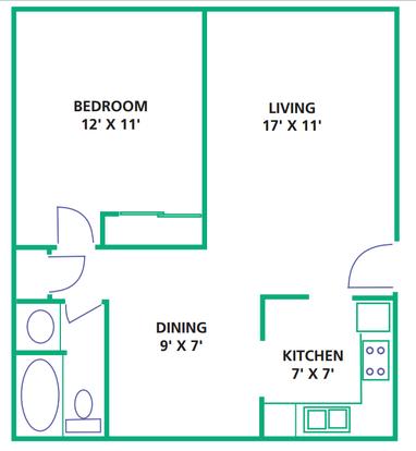 1 Bedroom 1 Bathroom Apartment for rent at White Oak Square Apartments in Cincinnati, OH