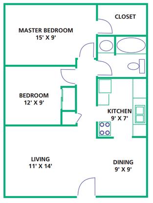 2 Bedrooms 1 Bathroom Apartment for rent at White Oak Square Apartments in Cincinnati, OH