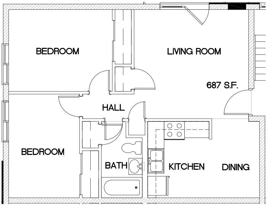 2 Bedrooms 1 Bathroom Apartment for rent at Oak Park Apartments in Cincinnati, OH
