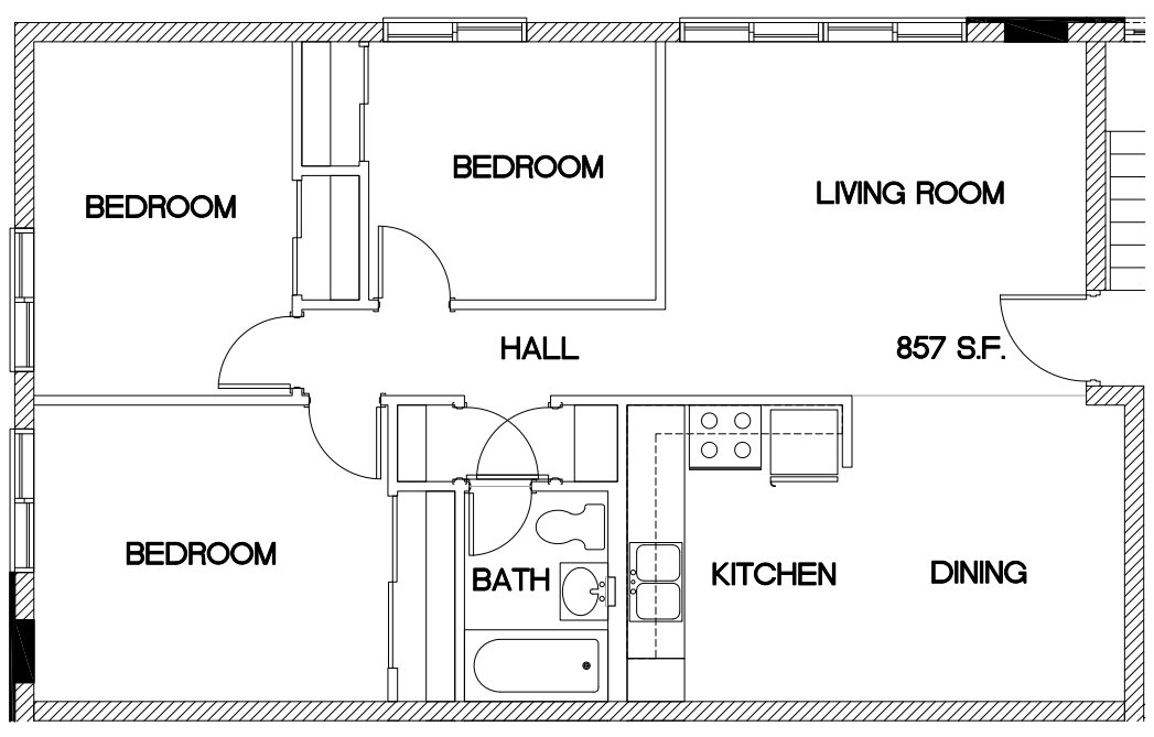 3 Bedrooms 1 Bathroom Apartment for rent at Oak Park Apartments in Cincinnati, OH