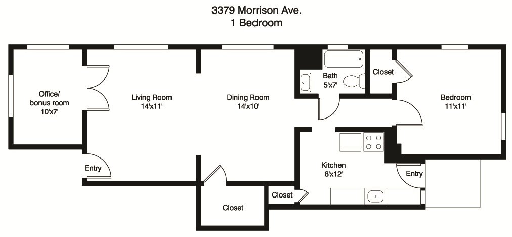 1 Bedroom 1 Bathroom Apartment for rent at 3379 Morrison Ave in Cincinnati, OH