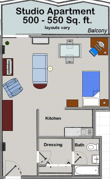 Studio 1 Bathroom Apartment for rent at Huron Towers in Ann Arbor, MI